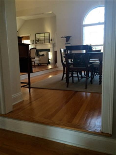 Treacherous step down from living room into dining room