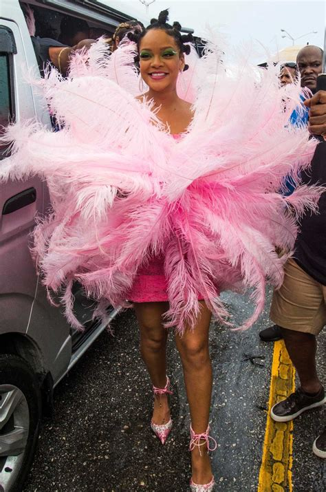 Rihanna in a Pink Dress Arrives at the Annual Crop Over
